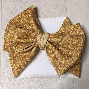 Baby headband bow wrap gold stretchy infant